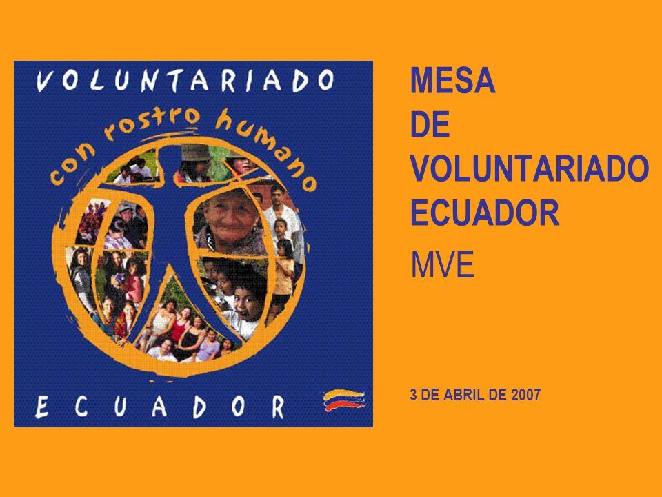 MESA DE VOLUNTARIADO ECUADOR
