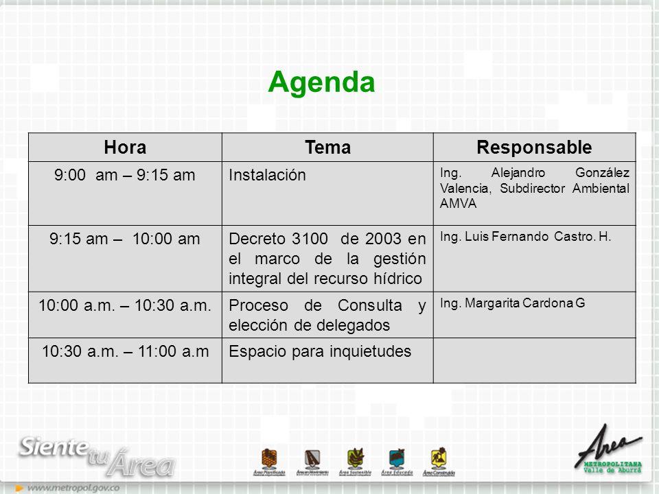 Agenda Hora Tema Responsable 9:00 am – 9:15 am Instalación