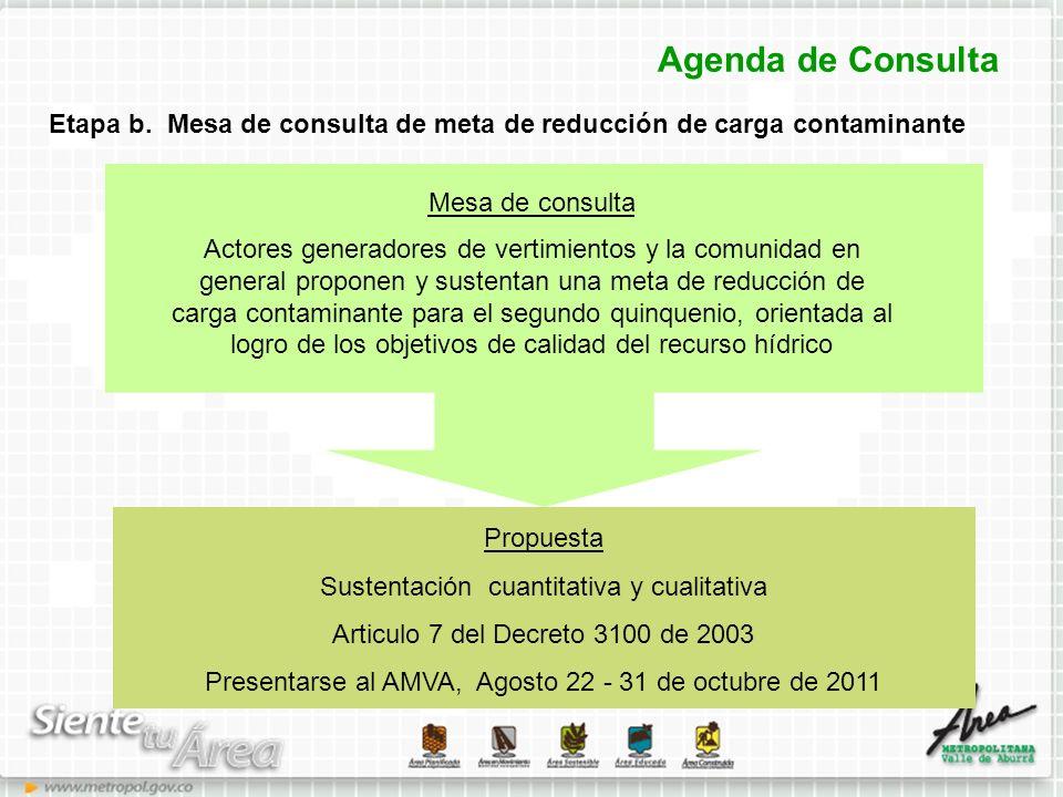 Agenda de Consulta Etapa b. Mesa de consulta de meta de reducción de carga contaminante. Mesa de consulta.