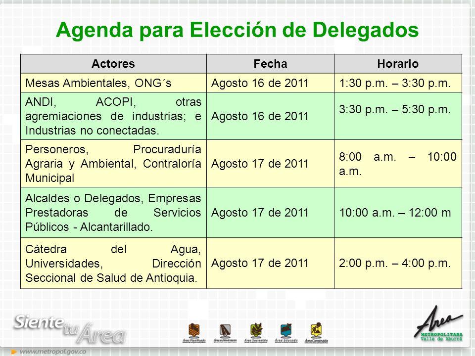 Agenda para Elección de Delegados