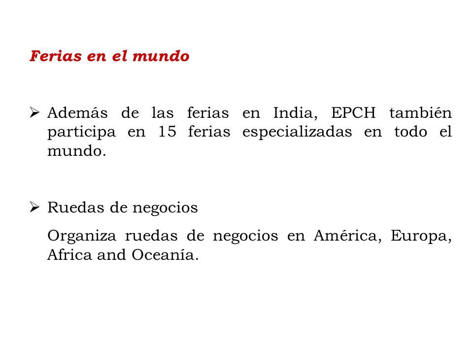 Ferias en el mundo Además de las ferias en India, EPCH también participa en 15 ferias especializadas en todo el mundo.