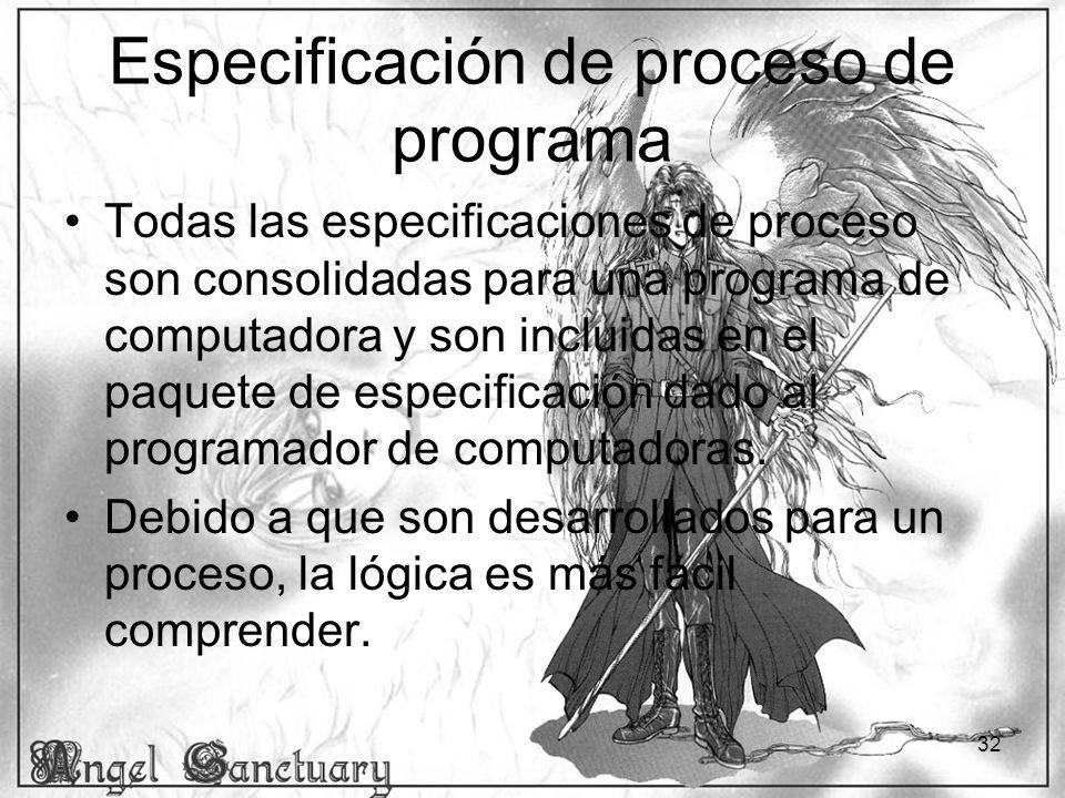 Especificación de proceso de programa