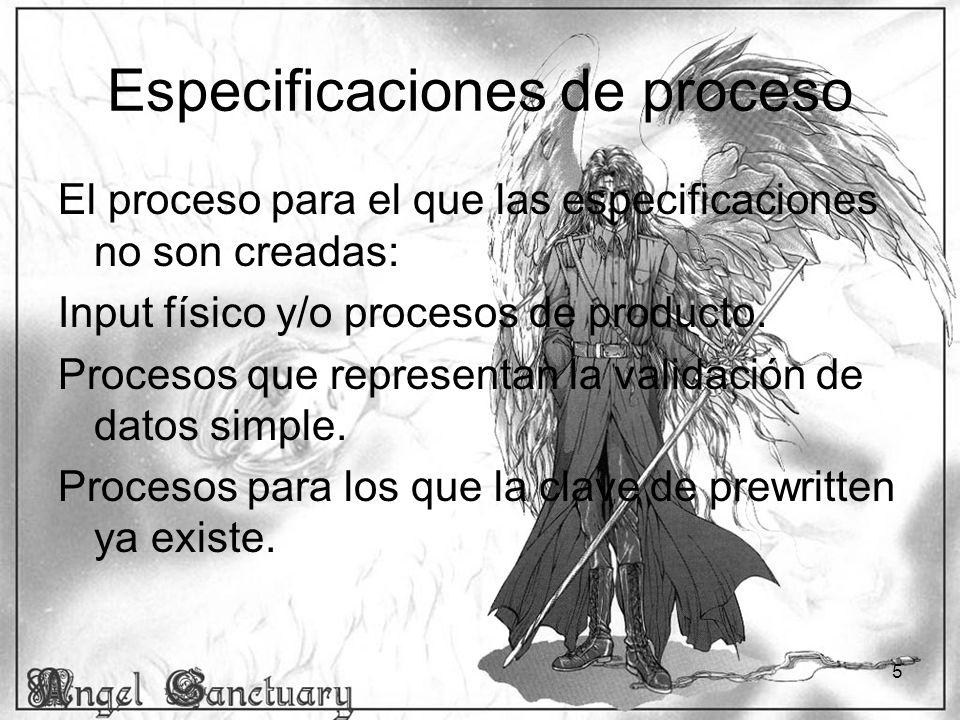 Especificaciones de proceso
