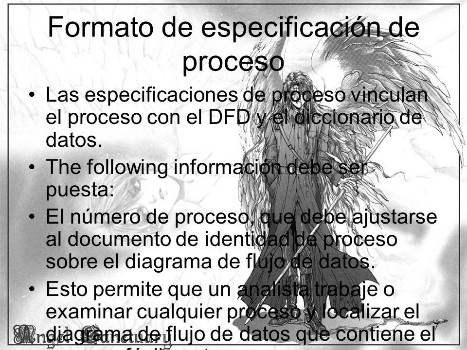 Formato de especificación de proceso