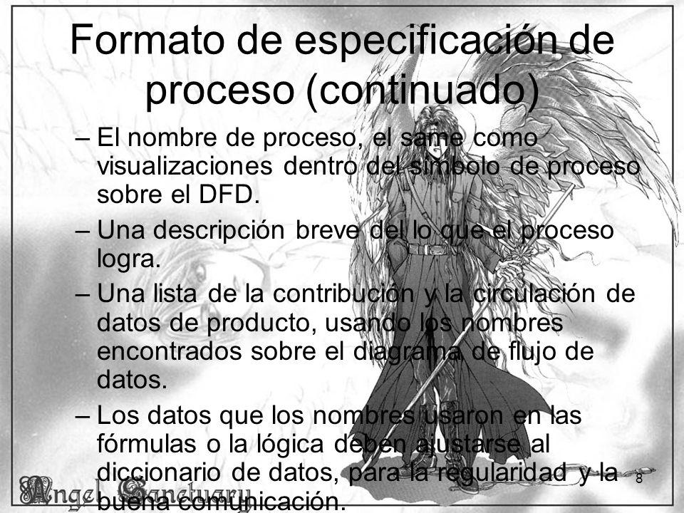 Formato de especificación de proceso (continuado)