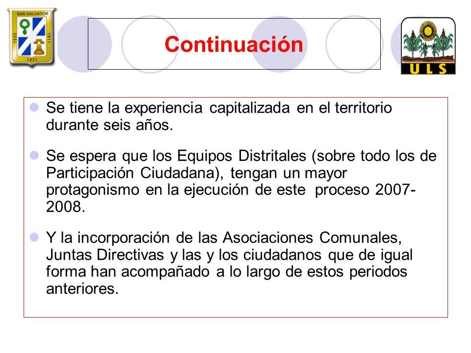 Continuación Se tiene la experiencia capitalizada en el territorio durante seis años.