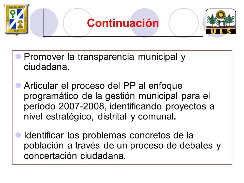 Continuación Promover la transparencia municipal y ciudadana.