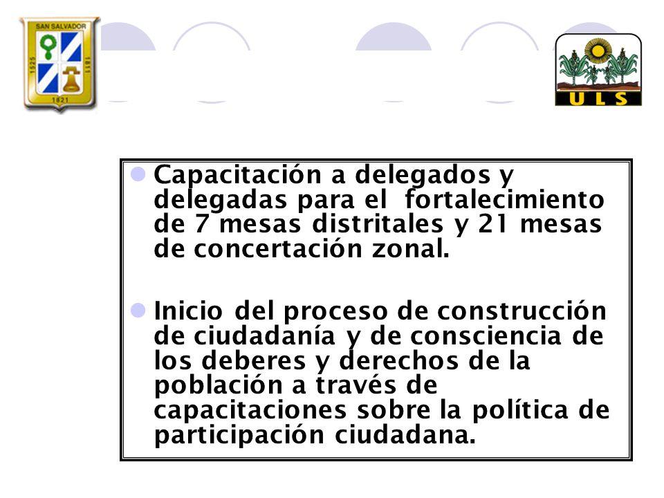 Capacitación a delegados y delegadas para el fortalecimiento de 7 mesas distritales y 21 mesas de concertación zonal.