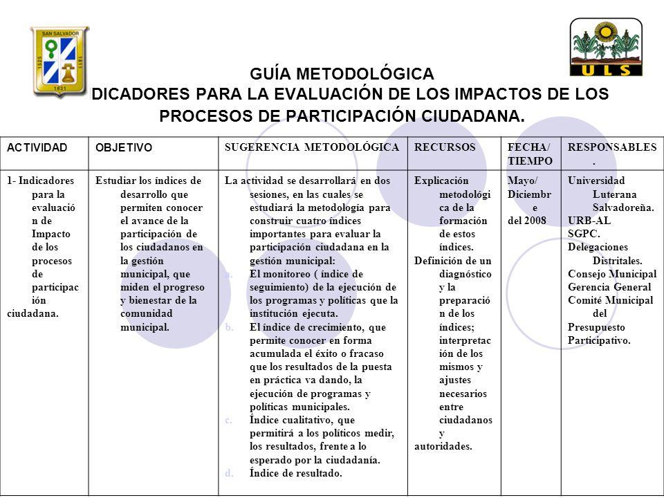 GUÍA METODOLÓGICA INDICADORES PARA LA EVALUACIÓN DE LOS IMPACTOS DE LOS PROCESOS DE PARTICIPACIÓN CIUDADANA.