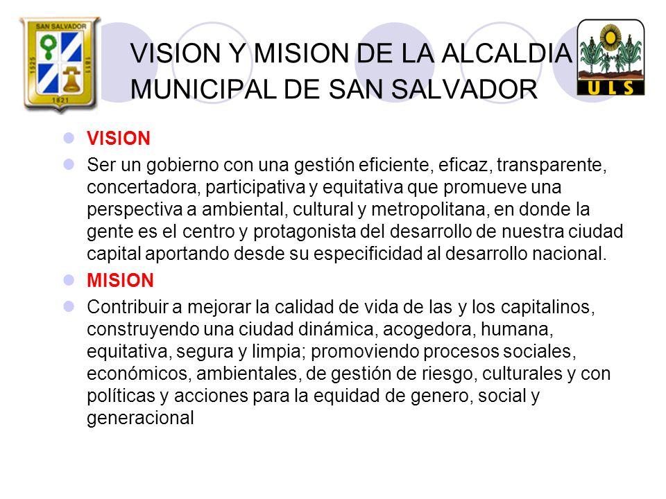 VISION Y MISION DE LA ALCALDIA MUNICIPAL DE SAN SALVADOR