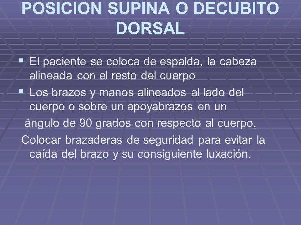 POSICION SUPINA O DECUBITO DORSAL
