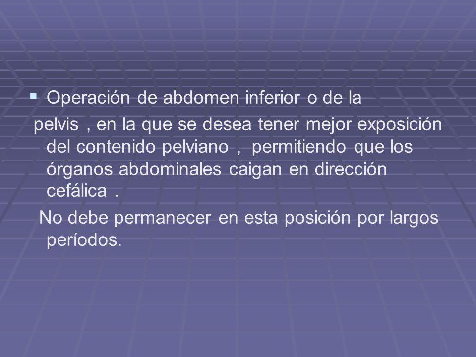 Operación de abdomen inferior o de la