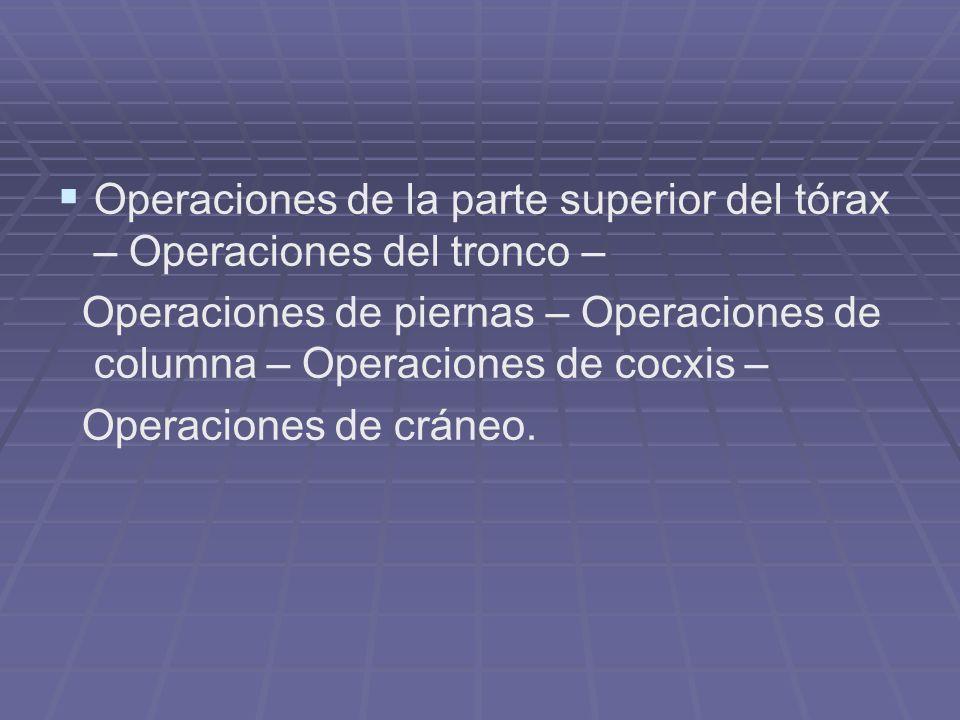 Operaciones de la parte superior del tórax – Operaciones del tronco –