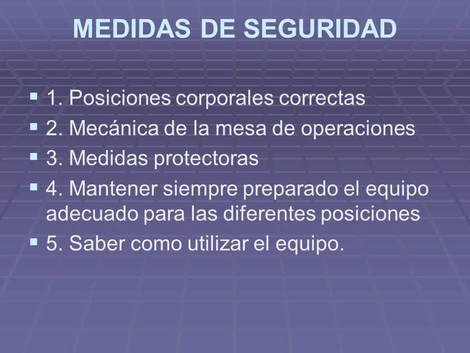 MEDIDAS DE SEGURIDAD 1. Posiciones corporales correctas