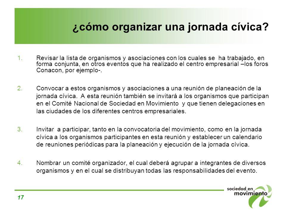 ¿cómo organizar una jornada cívica