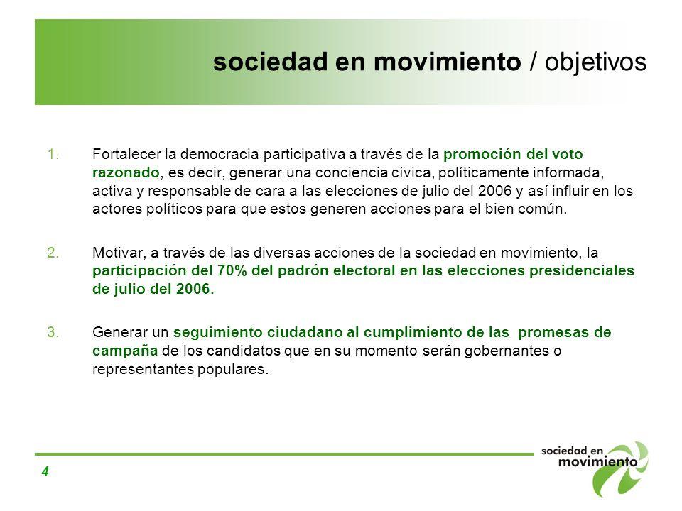 sociedad en movimiento / objetivos