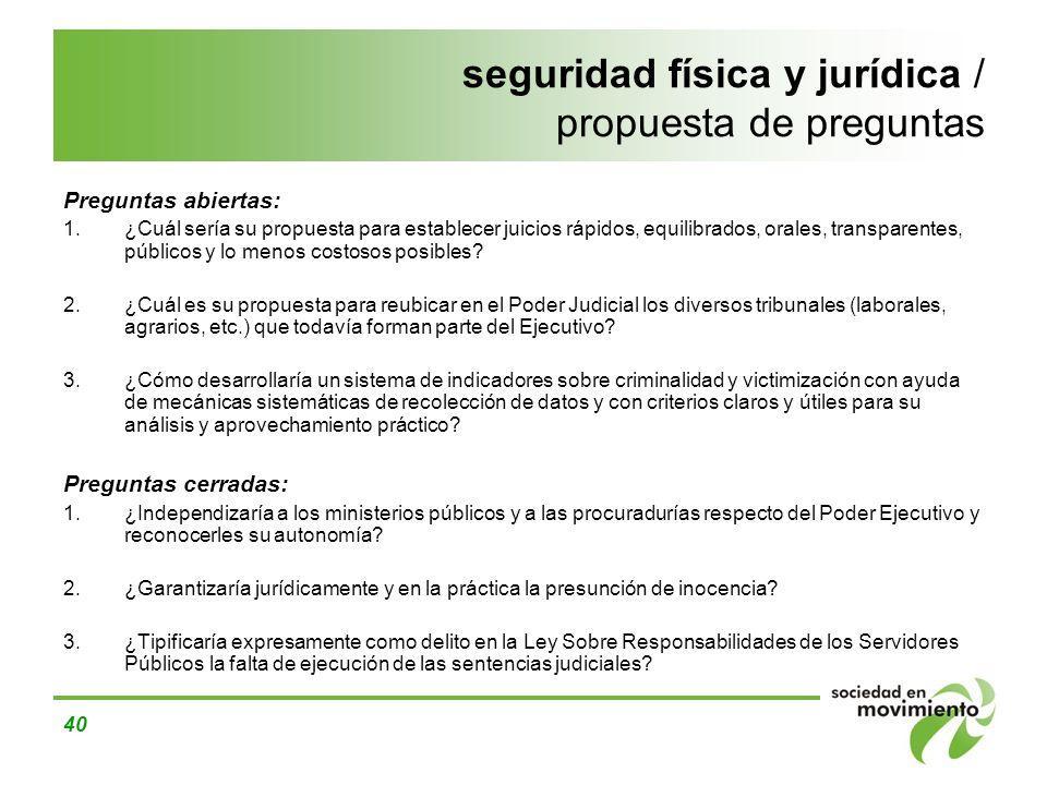 seguridad física y jurídica / propuesta de preguntas