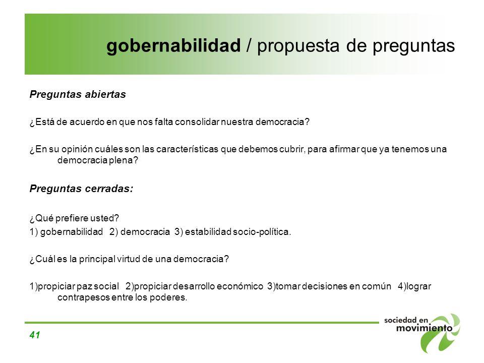 gobernabilidad / propuesta de preguntas