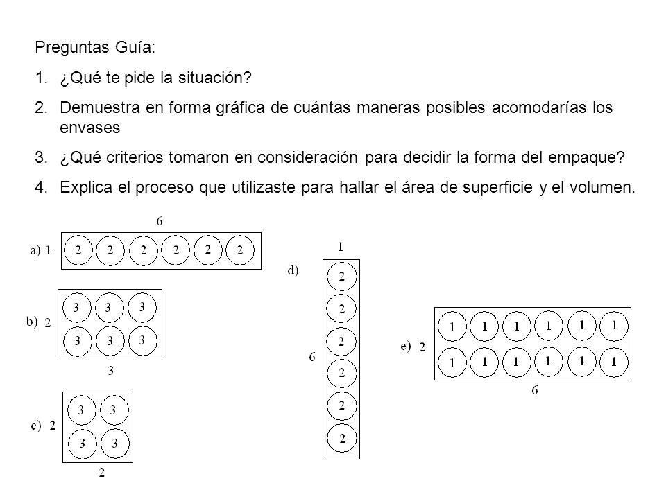 Preguntas Guía: ¿Qué te pide la situación Demuestra en forma gráfica de cuántas maneras posibles acomodarías los envases.