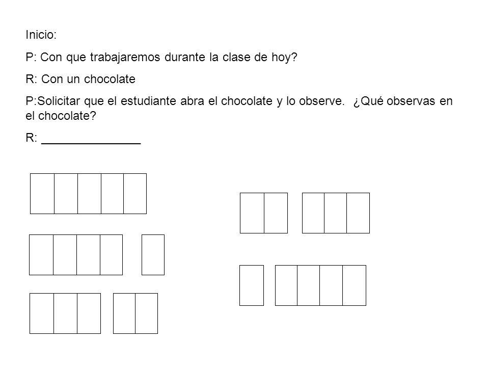 Inicio: P: Con que trabajaremos durante la clase de hoy R: Con un chocolate.