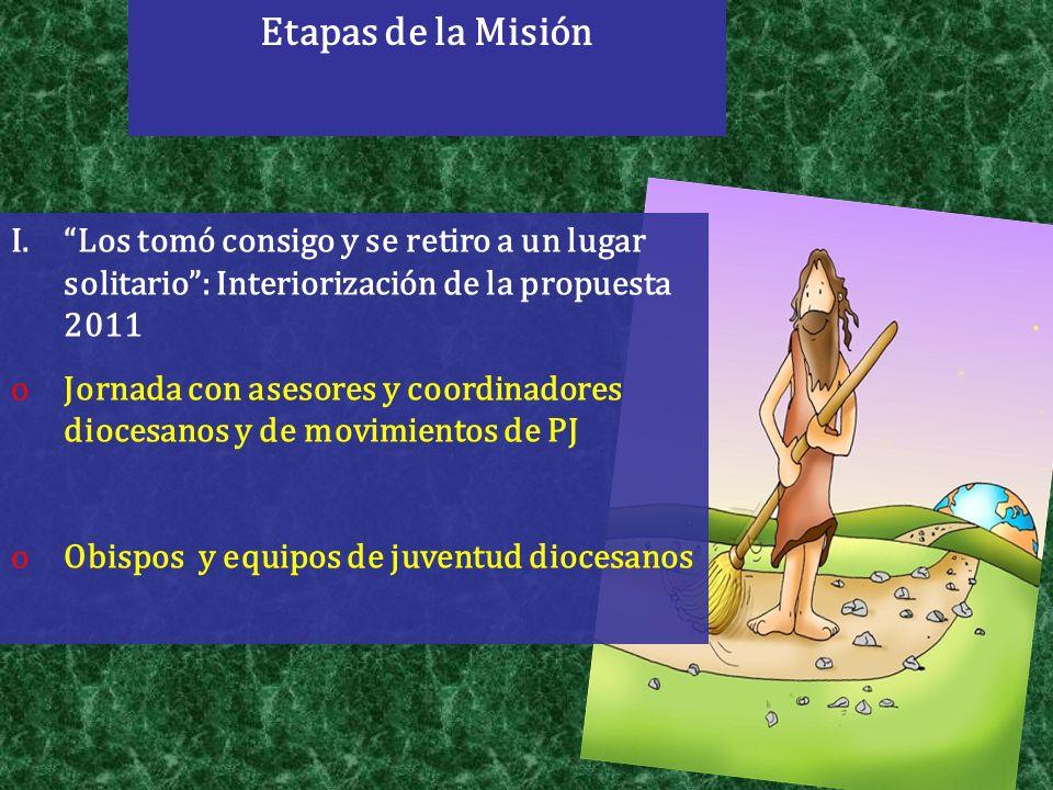 Etapas de la Misión Los tomó consigo y se retiro a un lugar solitario : Interiorización de la propuesta 2011.