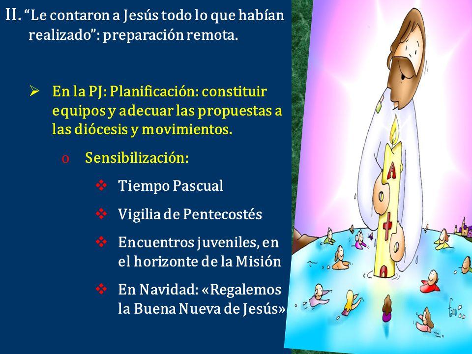 II. Le contaron a Jesús todo lo que habían realizado : preparación remota.