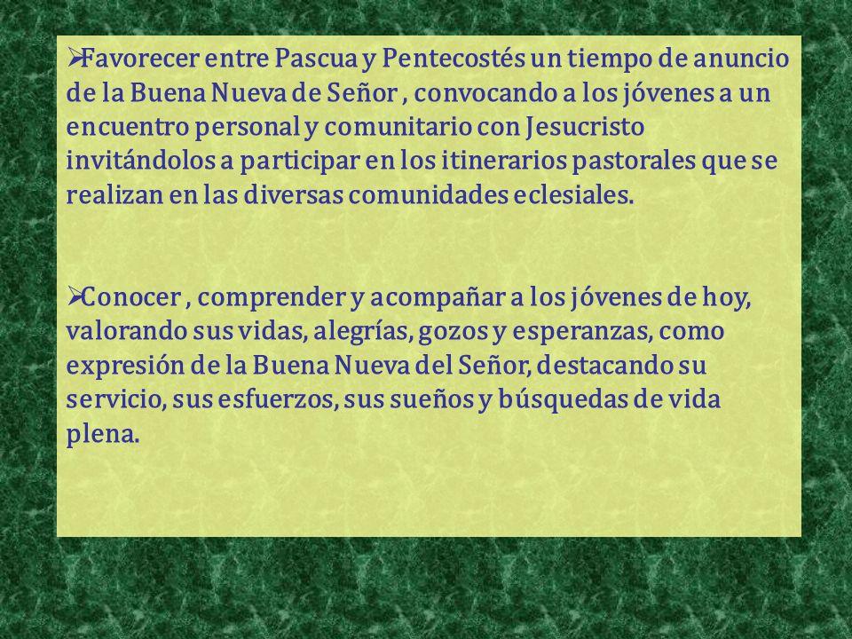 Favorecer entre Pascua y Pentecostés un tiempo de anuncio de la Buena Nueva de Señor , convocando a los jóvenes a un encuentro personal y comunitario con Jesucristo invitándolos a participar en los itinerarios pastorales que se realizan en las diversas comunidades eclesiales.
