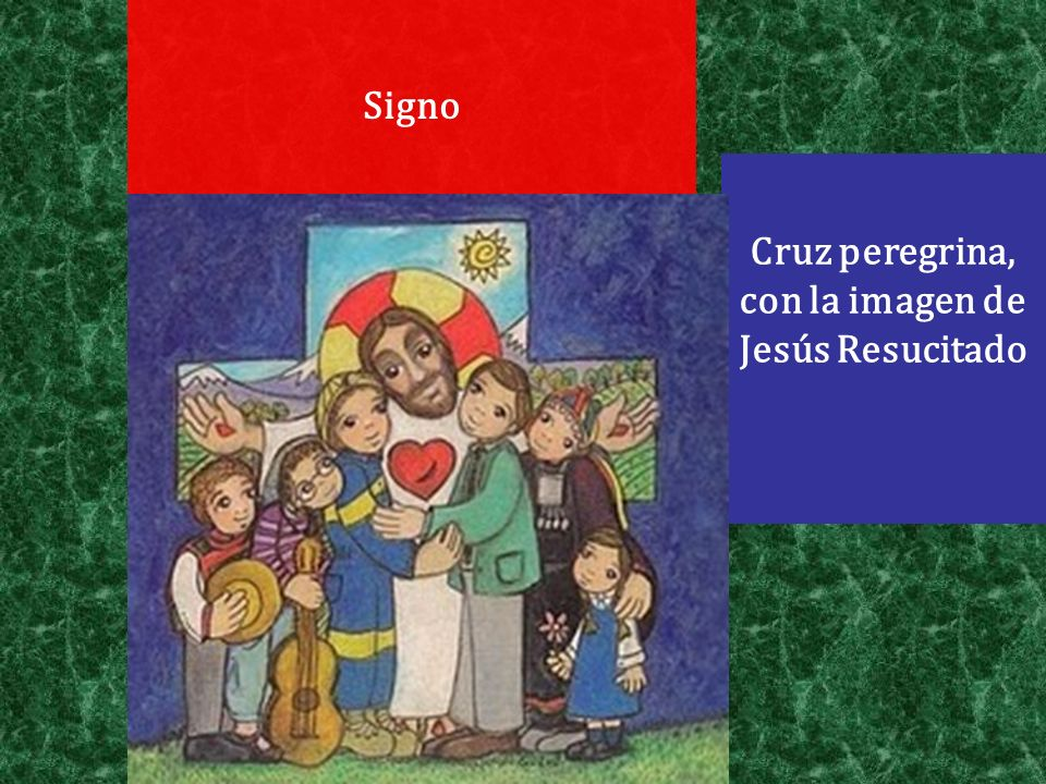 Cruz peregrina, con la imagen de Jesús Resucitado
