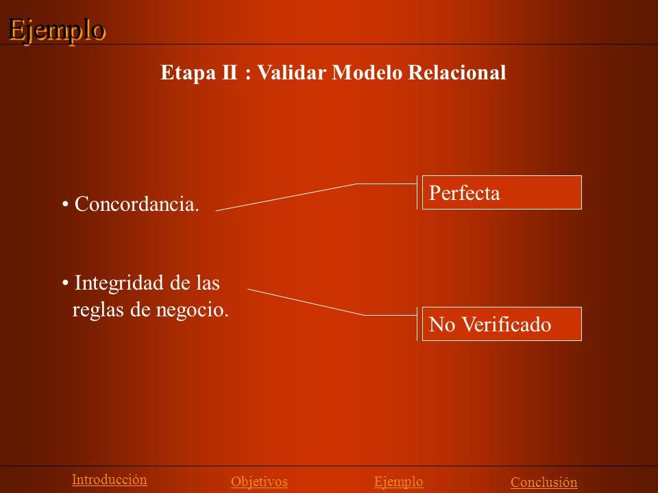 Ejemplo Etapa II : Validar Modelo Relacional Perfecta Concordancia.