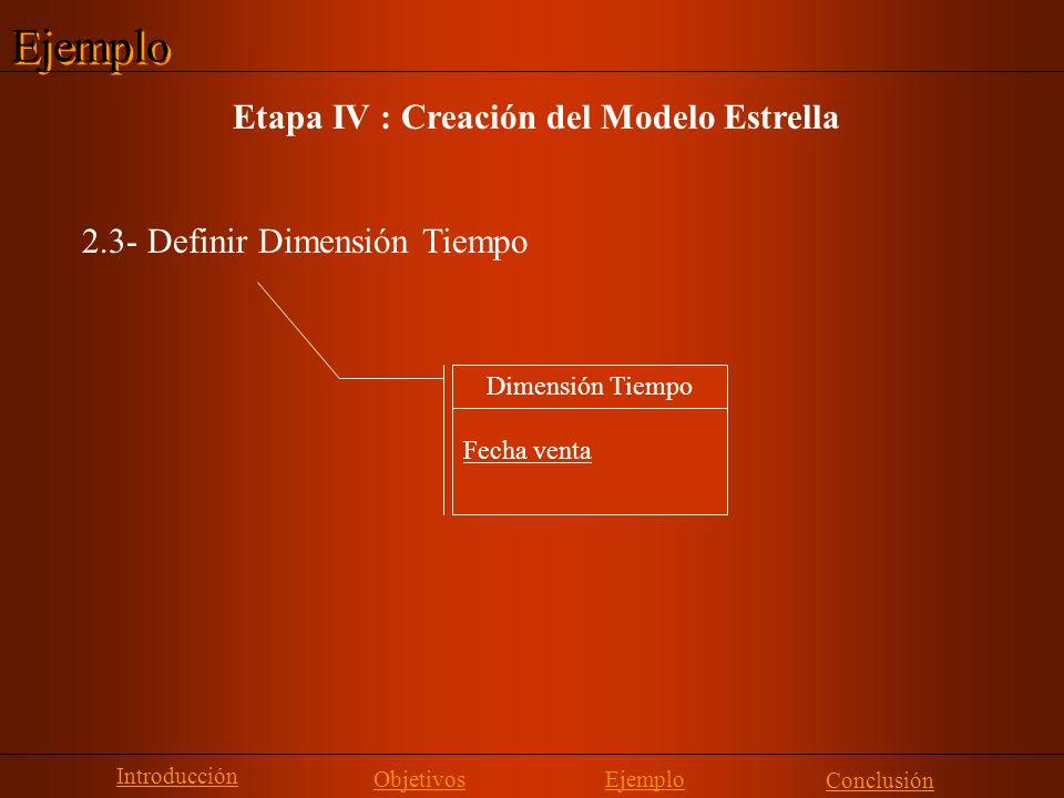 Ejemplo Etapa IV : Creación del Modelo Estrella
