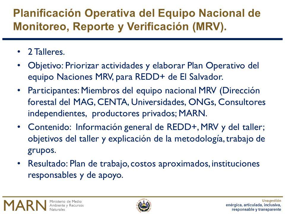 Planificación Operativa del Equipo Nacional de Monitoreo, Reporte y Verificación (MRV).
