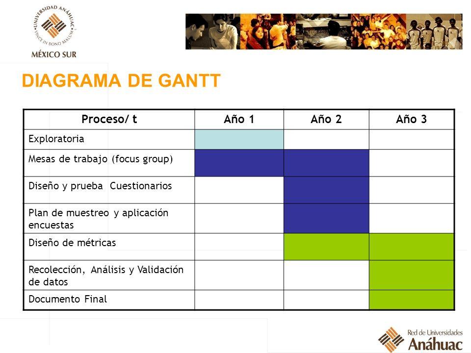 DIAGRAMA DE GANTT Proceso/ t Año 1 Año 2 Año 3 Exploratoria