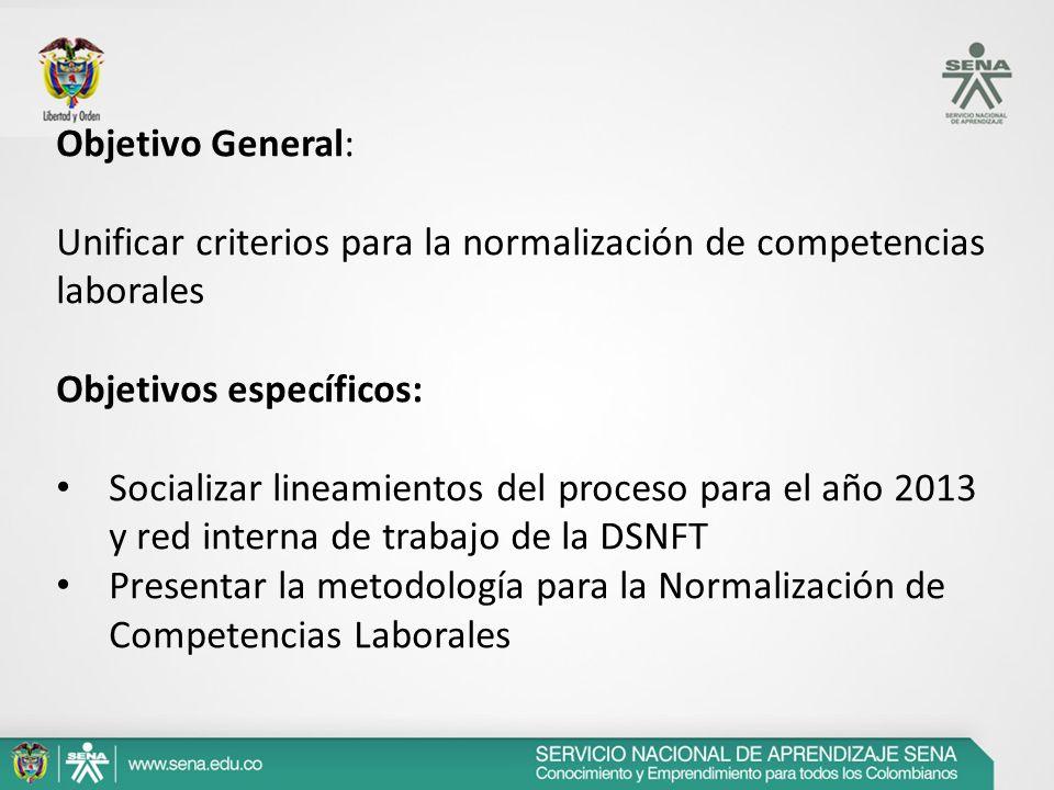 Objetivo General: Unificar criterios para la normalización de competencias laborales. Objetivos específicos: