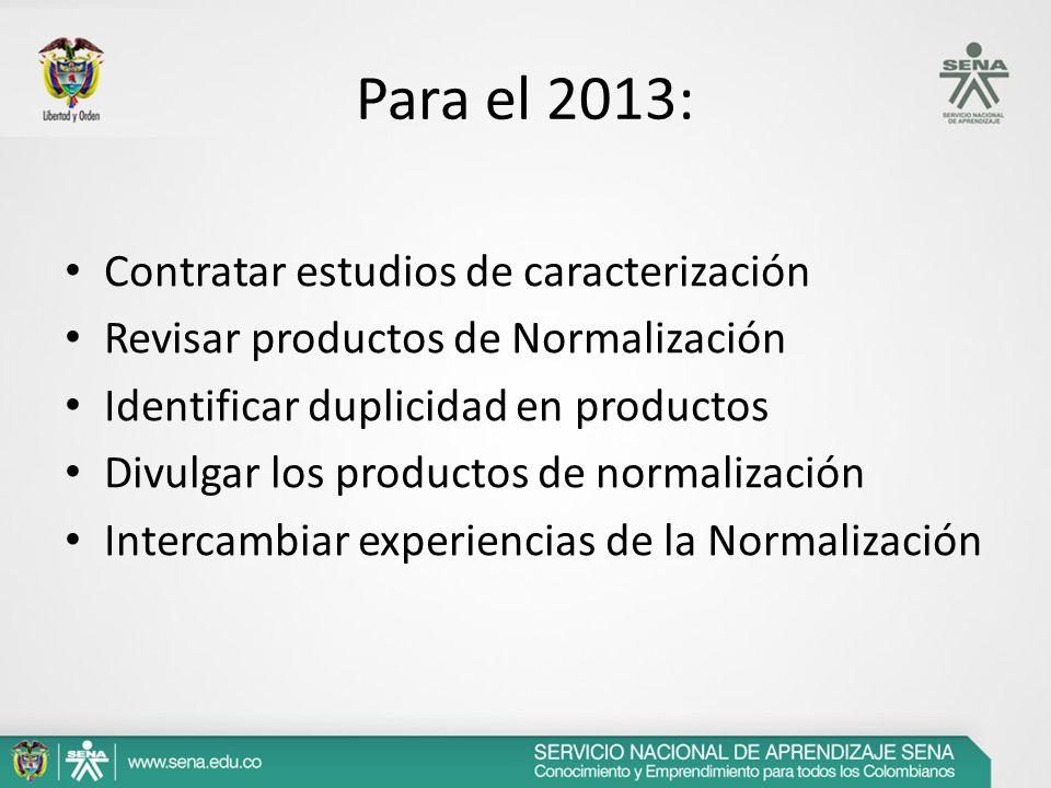 Para el 2013: Contratar estudios de caracterización