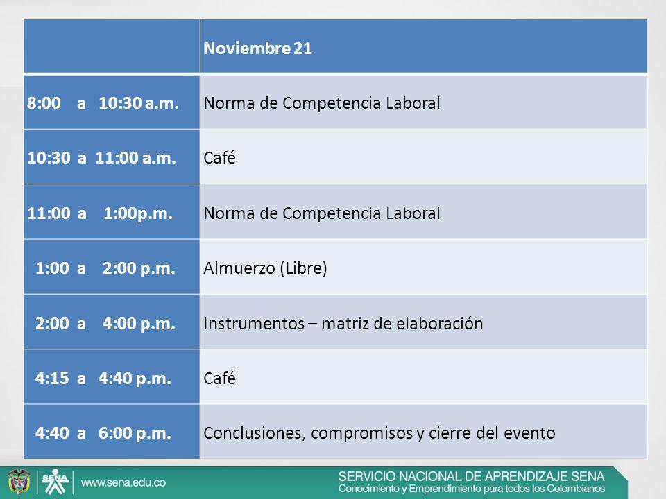 Noviembre 21. 8:00 a 10:30 a.m. Norma de Competencia Laboral. 10:30 a 11:00 a.m. Café.
