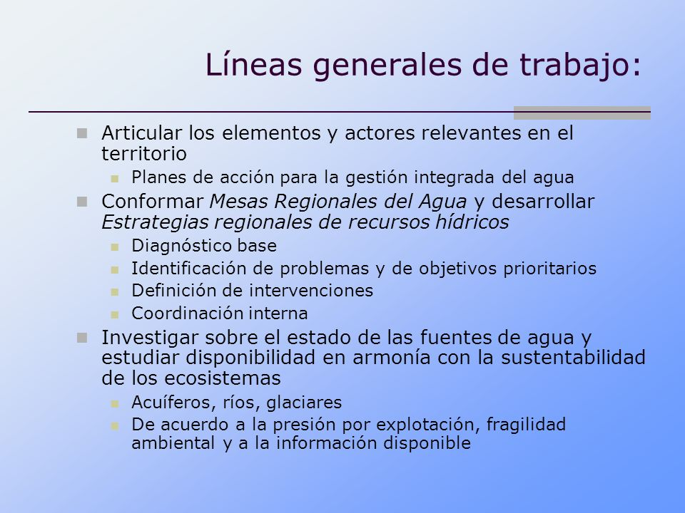 Líneas generales de trabajo:
