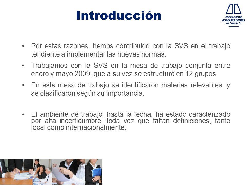 Introducción Por estas razones, hemos contribuido con la SVS en el trabajo tendiente a implementar las nuevas normas.