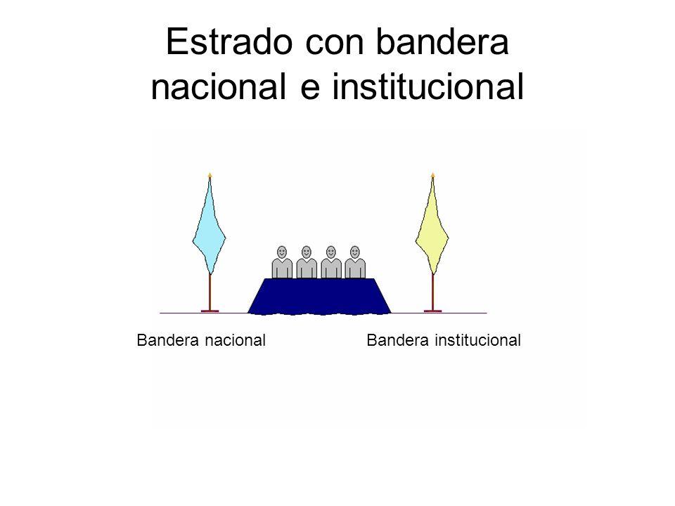 Estrado con bandera nacional e institucional