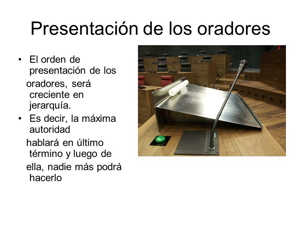 Presentación de los oradores