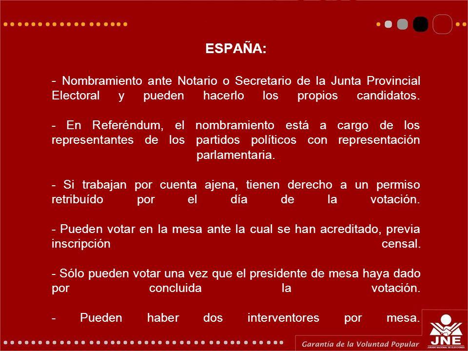 ESPAÑA: - Nombramiento ante Notario o Secretario de la Junta Provincial Electoral y pueden hacerlo los propios candidatos.