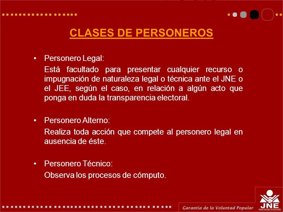 CLASES DE PERSONEROS Personero Legal: