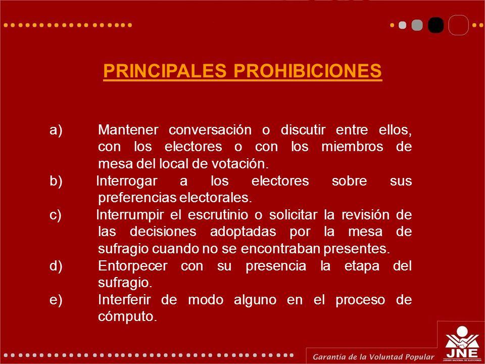 PRINCIPALES PROHIBICIONES