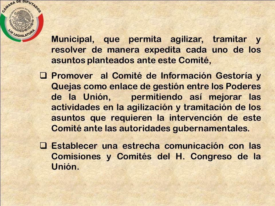Municipal, que permita agilizar, tramitar y resolver de manera expedita cada uno de los asuntos planteados ante este Comité,