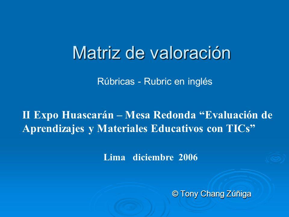 Matriz de valoración Rúbricas - Rubric en inglés