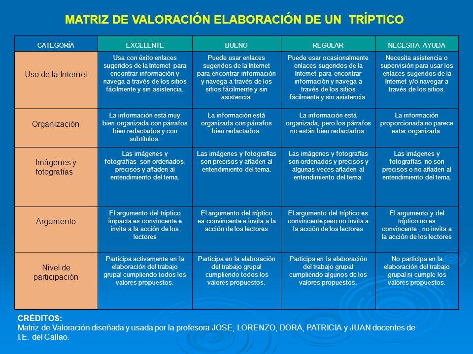 MATRIZ DE VALORACIÓN ELABORACIÓN DE UN TRÍPTICO