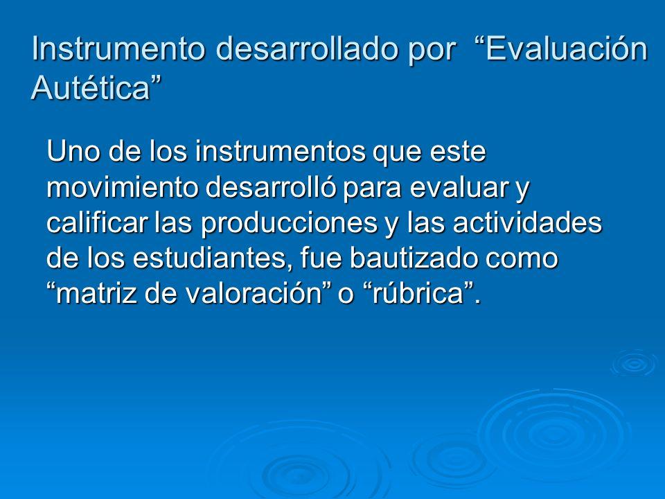 Instrumento desarrollado por Evaluación Autética