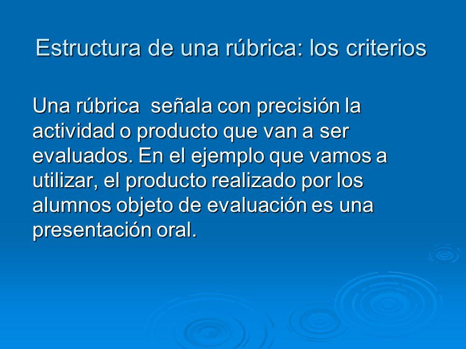 Estructura de una rúbrica: los criterios