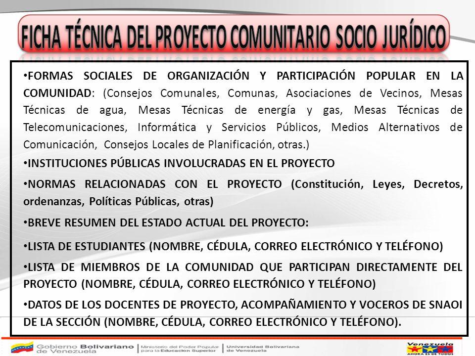 FICHA TÉCNICA DEL PROYECTO COMUNITARIO SOCIO JURÍDICO