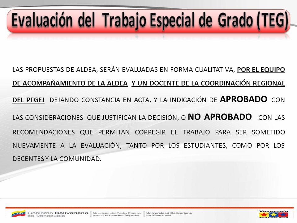 Evaluación del Trabajo Especial de Grado (TEG)