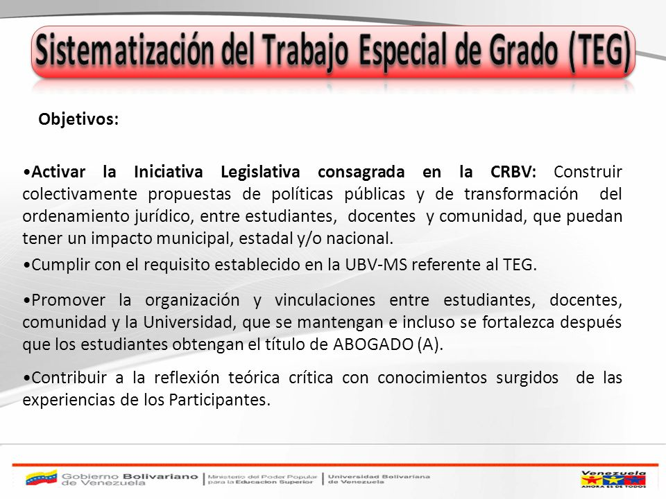 Sistematización del Trabajo Especial de Grado (TEG)